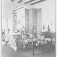 Mr. and Mrs. Camille Dreyfus, residence at Fenimore Rd. and Cornell St., Mamaroneck, New York. Living room, to screen
