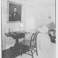 Mr. and Mrs. T. Ferdinand Wilcox, residence on Smith Ridge Rd., New Canaan, Connecticut. Guest room, desk and chaise
