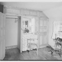 Mrs. John Taylor, residence in Stockton, New Jersey. Guest room closet, open
