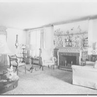 Mrs. Percy Rapaport, residence in Upper Montclair, New Jersey. Living room, to fireplace