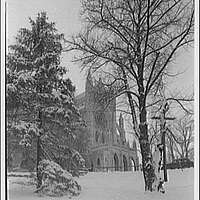National Cathedral exteriors. North transept of National Cathedral in winter