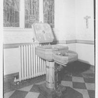 Our Lady of Mercy Church, 2500 Marion Ave., Bronx, New York. Baptismal font, open