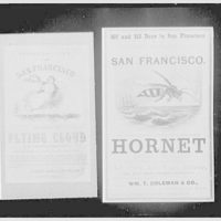 """Seamen's Bank for Savings, 74 Wall St., New York City. Sailing tickets for """"Hornet"""" and """"Flying Cloud"""""""