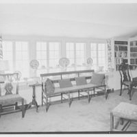 William F. Dominick, residence on Stanwich Rd., Greenwich, Connecticut. Living room, to long window