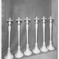 Frederick G. Necker, business at 3410 Broadway, New York City. Six large candlesticks