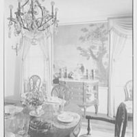 Maynard S. Bird, residence in Greenfield Hill, Fairfield, Connecticut. Dining room, to painting