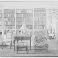 Maynard S. Bird, residence in Greenfield Hill, Fairfield, Connecticut. Living room bookshelves