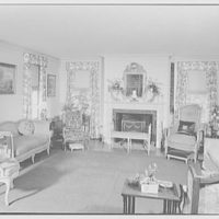 Maynard S. Bird, residence in Greenfield Hill, Fairfield, Connecticut. Living room, general view