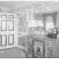 Mr. and Mrs. Richard Rodgers, residence on Black Rock Turnpike, Fairfield, Connecticut. Entrance hall