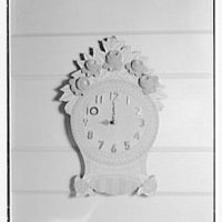 Mr. and Mrs. Richard Rodgers, residence on Black Rock Turnpike, Fairfield, Connecticut. Clock detail