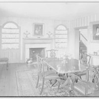 Mrs. Christopher J. Mileham, residence in Sharon, Connecticut. Dining room, to fireplace