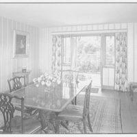 Mrs. Christopher J. Mileham, residence in Sharon, Connecticut. Dining room, to garden