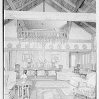 Mrs. Christopher J. Mileham, residence in Sharon, Connecticut. Living room, to balcony