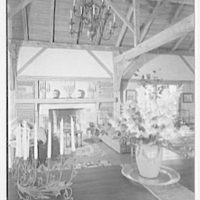 Mrs. Christopher J. Mileham, residence in Sharon, Connecticut. Living room, to fireplace