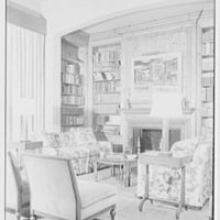 Mrs. Sidney Ross, residence at 784 Park Ave., New York City. Living room, side view to fireplace