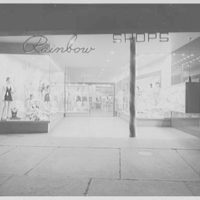 Rainbow Shop, business on Broadway, Brooklyn. Night exterior