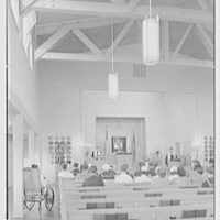 U.S. Naval Hospital Chapel, St. Albans, Long Island, New York. Chapel chancel, with Jewish congregation