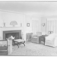 Mrs. Eleanor Workman Baldwin, residence in Greenwich, Connecticut. Living room, to fireplace