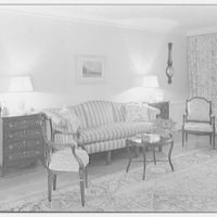 Mrs. Eleanor Workman Baldwin, residence in Greenwich, Connecticut. Living room, to sofa