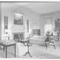 Paul Mellon, residence in Upperville, Virginia. Living room, to fireplace