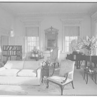 Paul Mellon, residence in Upperville, Virginia. Living room, to window