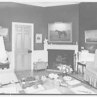 Paul Mellon, residence in Upperville, Virginia. Mr. Mellon's study, to fireplace