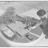 Raymond Barger Studio, Stamford, Connecticut. Model, bird's eye view, with figure