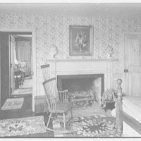 Richard Tyner, residence in Chatham, Massachusetts. Guest house bedroom, fireplace