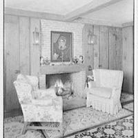 Richard Tyner, residence in Chatham, Massachusetts. Guest house living room, fireplace