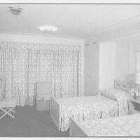 Steamship America, United States Line, 1 Broadway, New York City. Bedroom U49, drapes closed