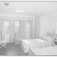 Steamship America, United States Line, 1 Broadway, New York City. Bedroom U49, drapes open