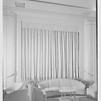 Steamship America, United States Line, 1 Broadway, New York City. Lounge curtains
