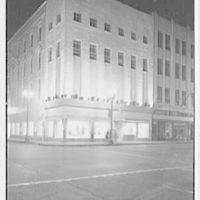 Bernard Shultz Department Store, business at Third and Main St., Evansville, Indiana. Night exterior