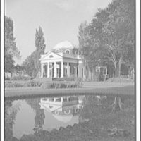 Monticello, Virginia. Front of Monticello from right with reflection in pool, vertical II