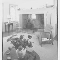 Mr. and Mrs. Eldredge Snyder, Carding Mill Farm, residence in Kellers Church, Pennsylvania. Living room fireplace, vertical