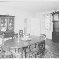 Mr. and Mrs. Eldredge Snyder, Carding Mill Farm, residence in Kellers Church, Pennsylvania. Dining room, to clock