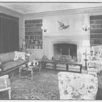 Mr. and Mrs. Theron Catlin, residence at 41 W. Brentmoor Park, Saint Louis, Missouri. Library, to fireplace