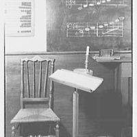 Mrs. Lawrence J. Ullman, business in Tarrytown, New York. School interior, detail, music desk
