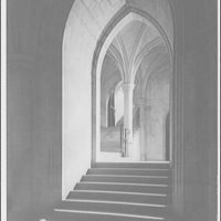 National Cathedral interiors. Stairway in north transept of National Cathedral from Bethlehem Chapel I