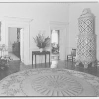 Paul Mellon, residence in Upperville, Virginia. Hall, to living room and dining room