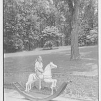Paul Mellon, residence in Upperville, Virginia. Kathie on hobbyhorse
