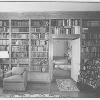 Paul Mellon, residence in Upperville, Virginia. Library, to gallery