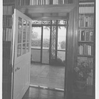 Paul Mellon, residence in Upperville, Virginia. Vista through library door, to porch