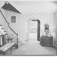 Richard Kops, residence at 2 Richbell Rd., Scarsdale, New York. Entrance hall, looking out