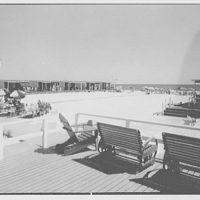 Surf Club, Atlantic Beach, Long Island, New York. Cabanas, toward ocean