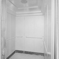 Westchester Apartments. Interior of elevator in Westchester Apartments
