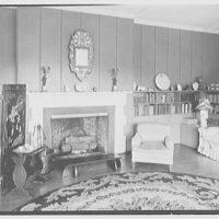 Geoffrey Platt, residence on Crow Hill Rd., Mount Kisco, New York. Living room, to fireplace