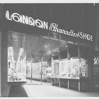 London Character Shoes, business on Fulton St., Brooklyn, New York. Exterior at night