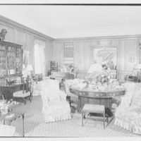 Mrs. Florence Lamont, residence in Palisades, New York. Living room, to hall