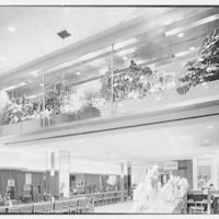 Schrafft's, Esso Building, Rockefeller Center, New York City. Flower boxes on mezzanine